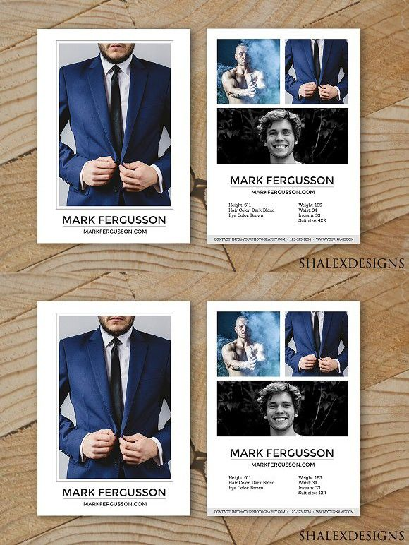 Male Modeling Comp Card Template Creative Card Templates