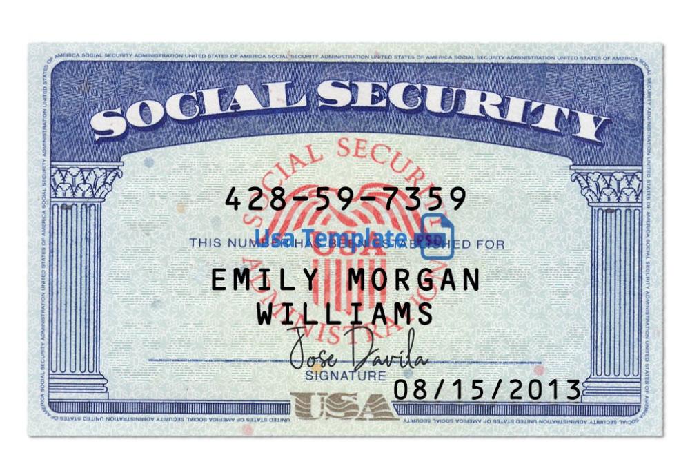 Usa Social Security Card Psd Template Ssn Psd Template Within Ssn Card Template Card Templates Free Social Security Card Card Template