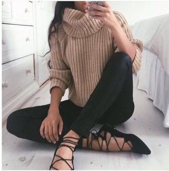 sweater beige comfy sweater lovely wishlist shoes black comfy knitted sweater…