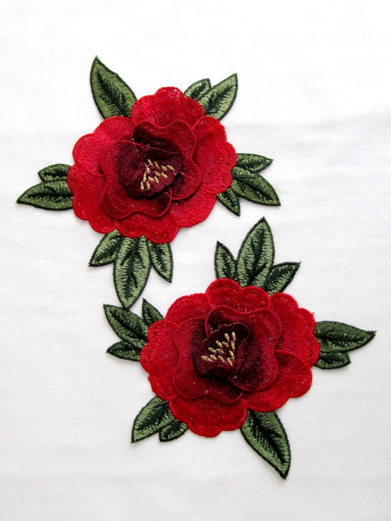 Pcs red rose patches carmen flower embroidered by