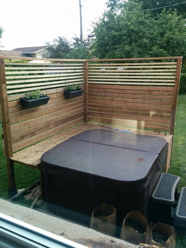 Privacy Around My Hot Tub With Bug Repelling Plants Hot Tub Garden Hot Tub Landscaping Hot Tub Patio