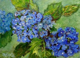 """Daily Painters Abstract Gallery: Blue Hydrangea Oil Painting Flower Art """"The Special Gift"""" by Florida Impressionism Artist Annie St. Martin"""