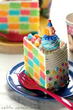 Checkered Rainbow Birthday Cake I Ve Made This With 3 Colors But Never
