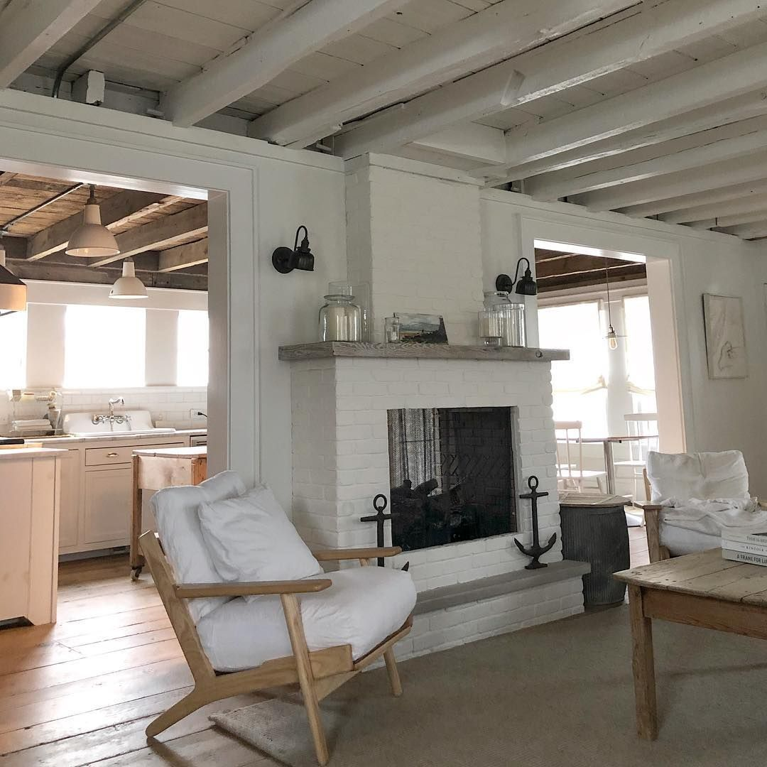 White Flower Farmhouse On Instagram The Ceilings In The Living Room Are Painted Glossy White And On Kitchen Si Gray Wood Tile Flooring Dark Wood Bed Raw Wood