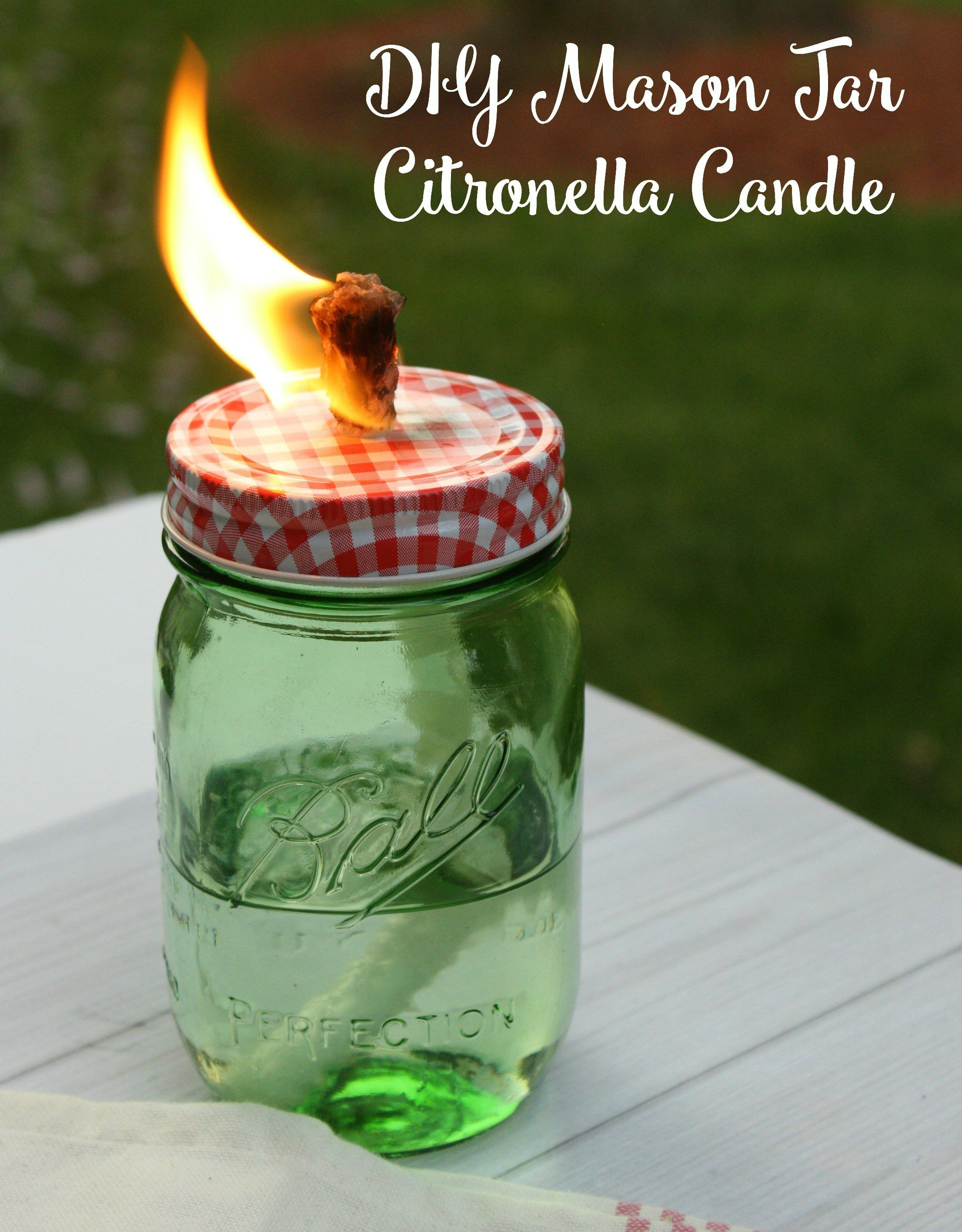 DIY Mason Jar Citronella Candle DIY Mason