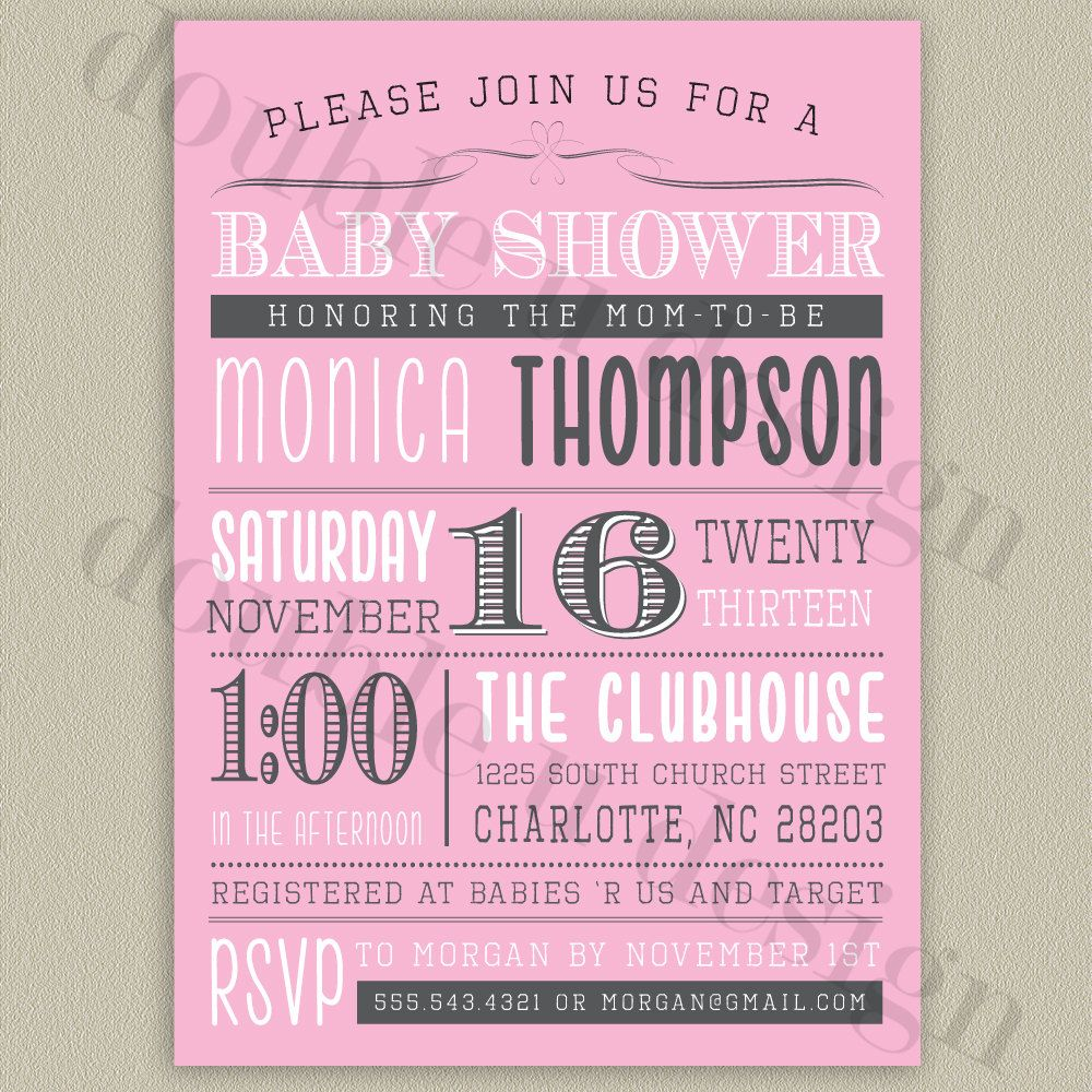 COLOR OPTIONS - Printable Baby Shower Invitation. $16.00, via Etsy.