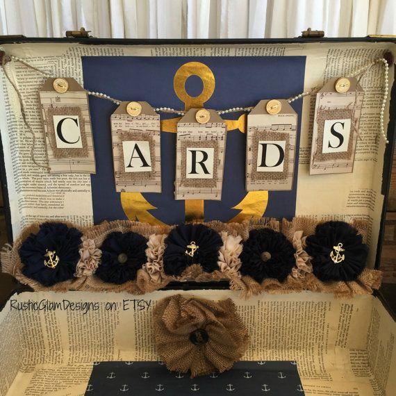 Vintage Suitcase Wedding Card Holder Rustic Wedding gift table card box Nautical Navy and Gold Weddi #vintagesuitcasewedding