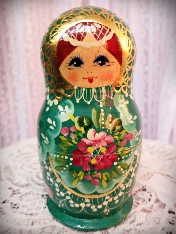 Vintage Russian nesting dolls Matryoshka dolls Emerald