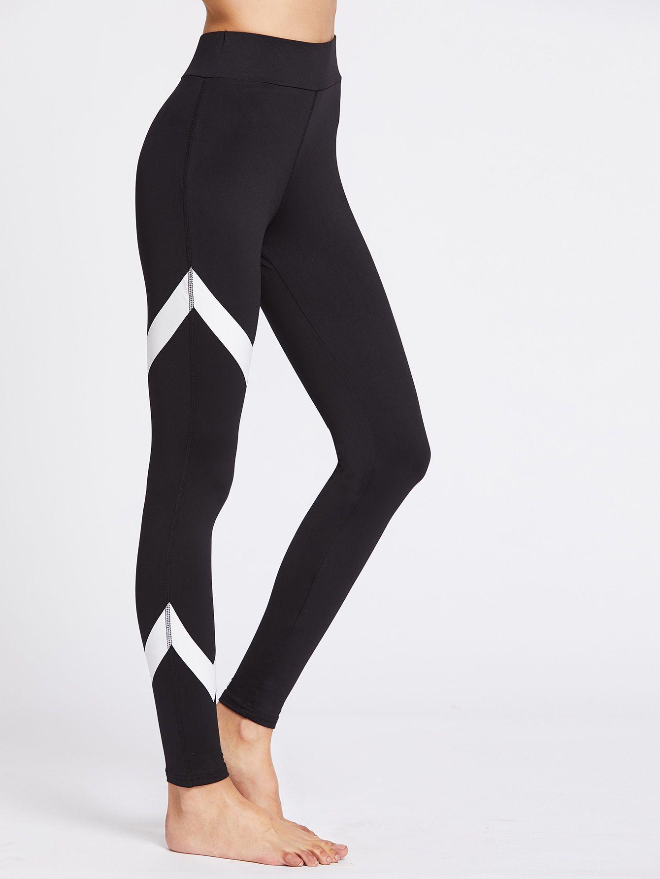 1b4d4665f8441 Shop Chevron Pattern Gym Leggings online. SheIn offers Chevron Pattern Gym  Leggings & more to fit your fashionable needs.