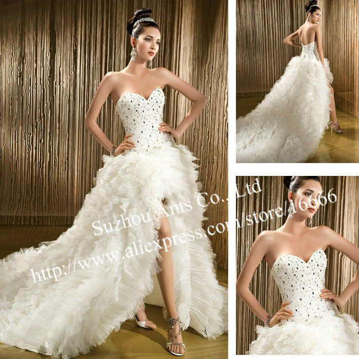 Cheap Wedding Dress Front Short Buy Quality Bridal Gown Directly From China Luxurious Suppliers Real Photo Vintage White Split Tulle Sexy