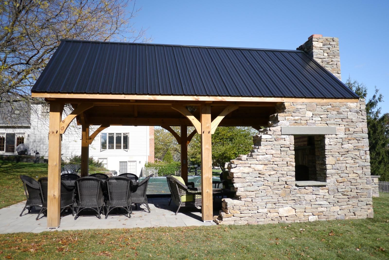 Best 12X20 Timber Frame Pavilion With Stone Wall Timber Frame 400 x 300