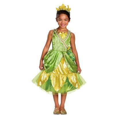 Toddler/Girl\u0027s Disney Princess Tiana Sparkle Deluxe Costume Girl\u0027s - green dress halloween costume ideas
