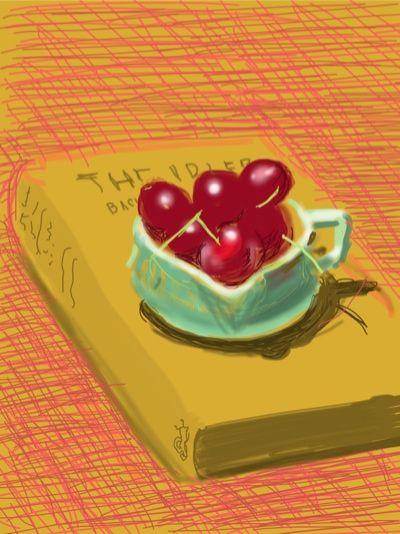 The cherry on the iPad. David Hockney's electronic artwork
