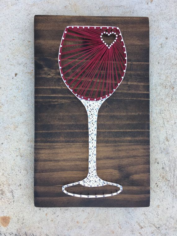 Made to order wine glass string art board by for String craft patterns