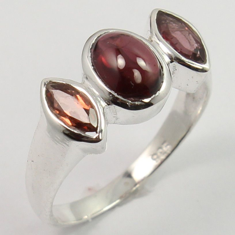 925 Sterling Silver Stunning Ring Size US 6 Real GARNET Gemstone Wholesale Offer #SunriseJewellers #Fashion