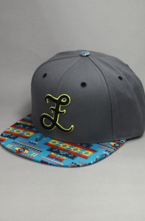 Fully Laced Tribute Collection Bravery Snapback Hat (Grey/Turq) by Fully Laced