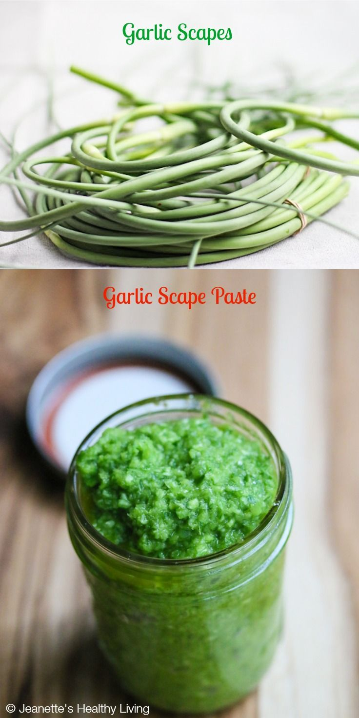Garlic Scape Paste © Jeanette's Healthy Living #summer #sauce #farmersmarket #recipe