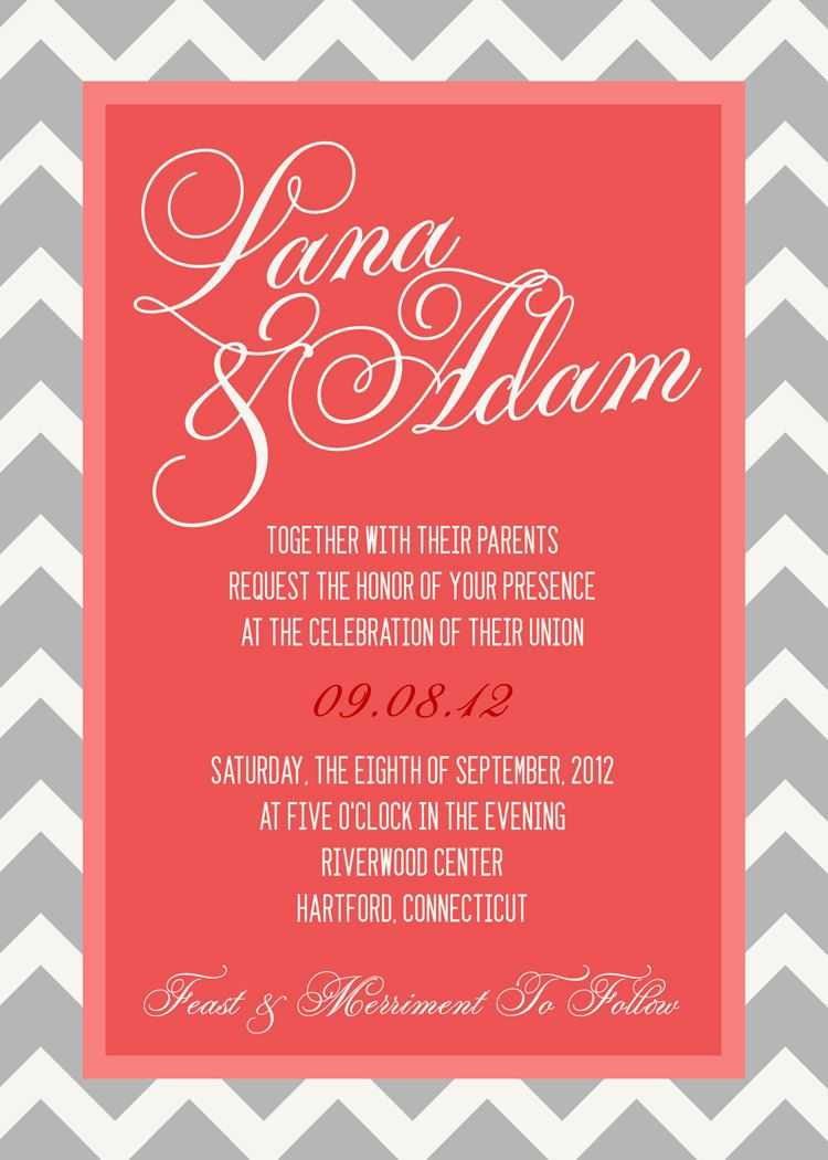 Printable Chevron Wedding Invitation 5x7 Grey and Melon - Colors Can ...