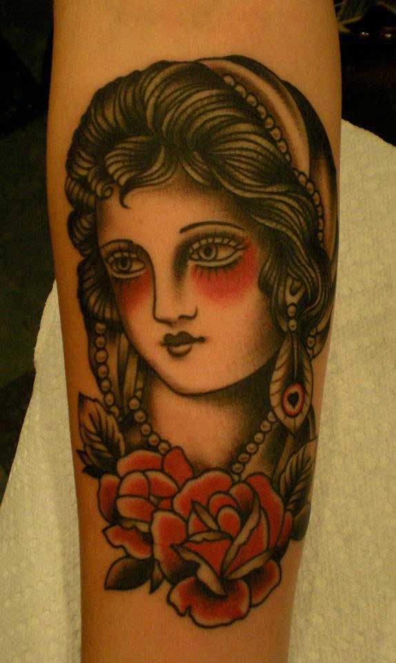 64f696c40 Tatouage old school portrait gitane | Tattoos | Tradional tattoo ...