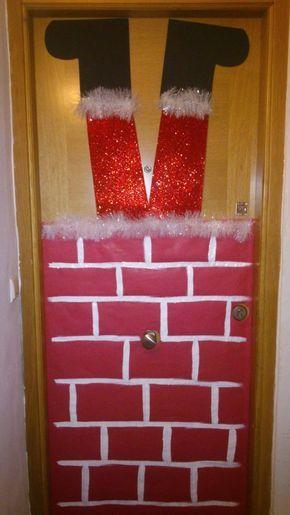 Puerta pap noel navidad decoraci n navide a puerta - Adornos navidenos para puertas ...