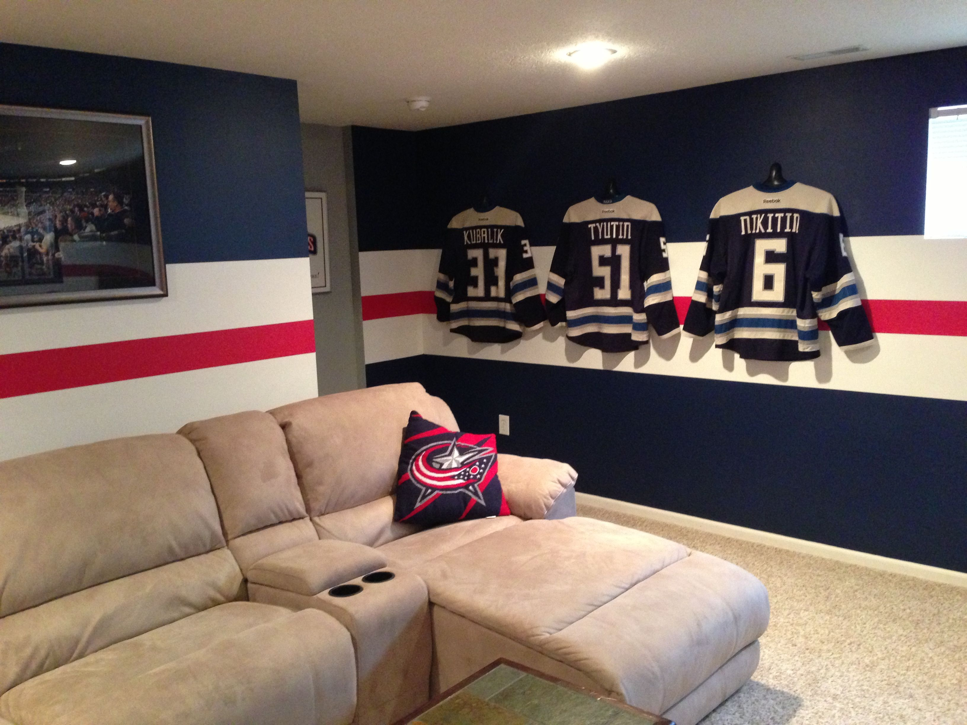 Excellent Man Cave Display Of Jerseys Using Shirtwhiz Man Cave