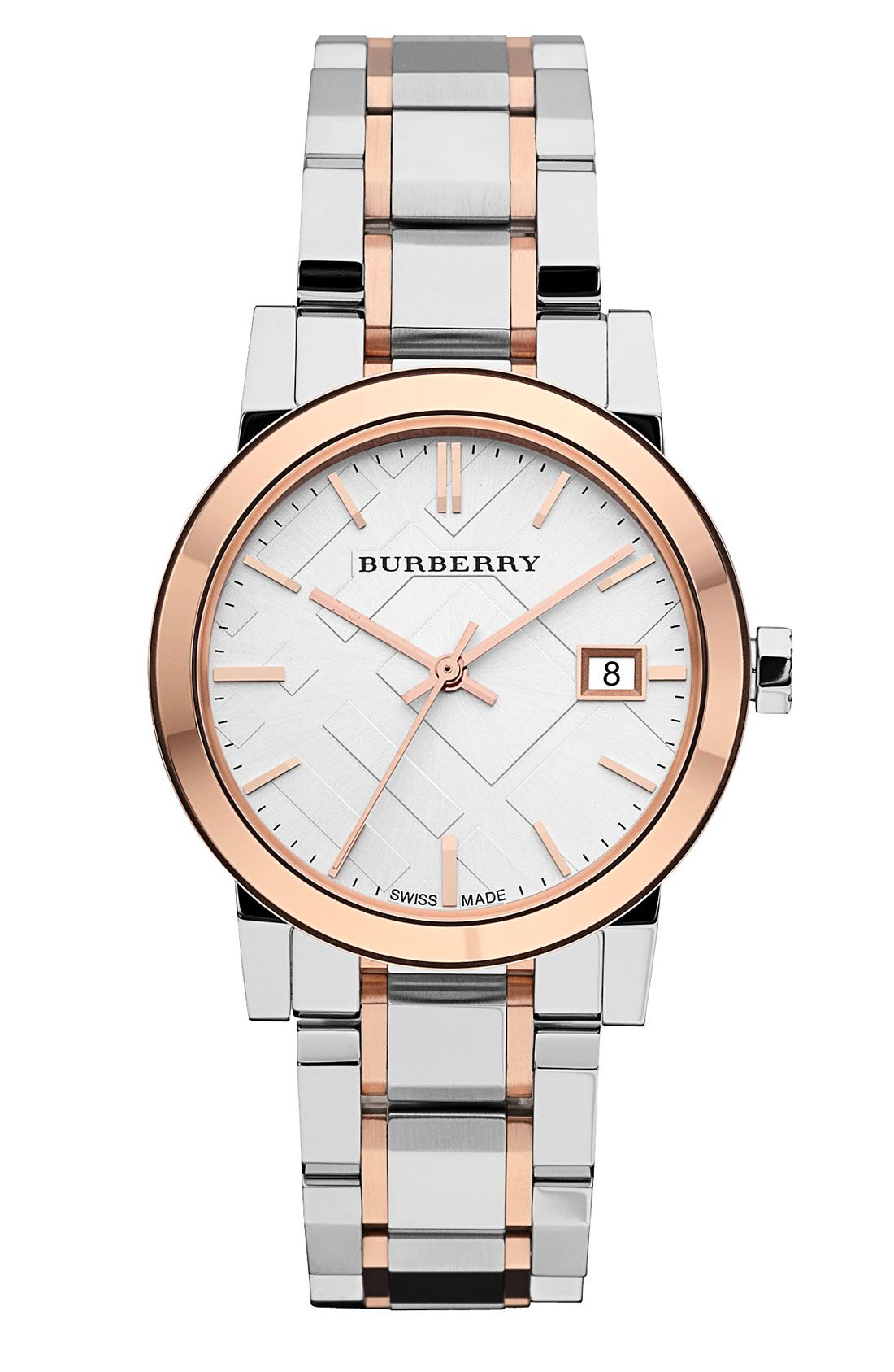 e29ba3b5415 On trend  This rose gold and silver Burberry watch.