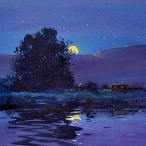 Tom Perkinson Southwest Landscape Painter Watercolor Moon Moonlight Painting Night Painting