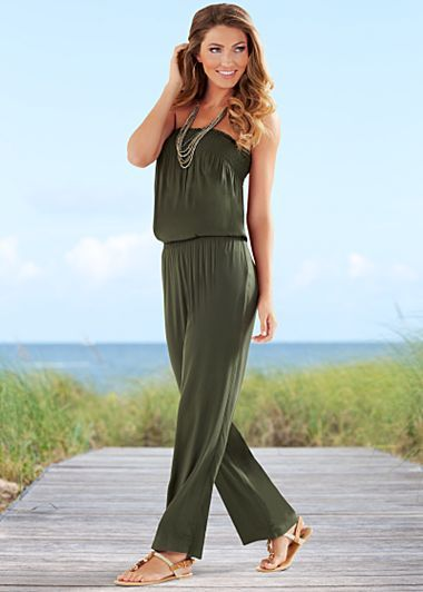 83e0b33d9 Green strapless jumpsuit, rope sandal. Great for our beach trip ...