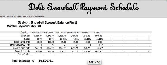 Excel debt snowball spreadsheet Debt planner tracker payoff - debt calculator spreadsheet