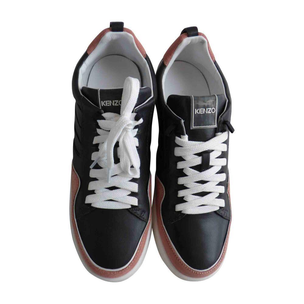 Baskets cuir noir et rose KENZO Taille 40 | Baskets en cuir ...