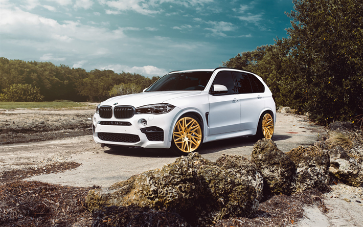 Download Wallpapers Bmw X5 M 2018 4k White Luxury Suv Tuning