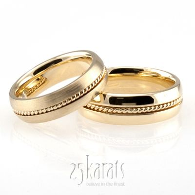 Traditional Single Braid Handmade Wedding Band Set Handmade Wedding Band Wedding Band Sets Matching Wedding Rings