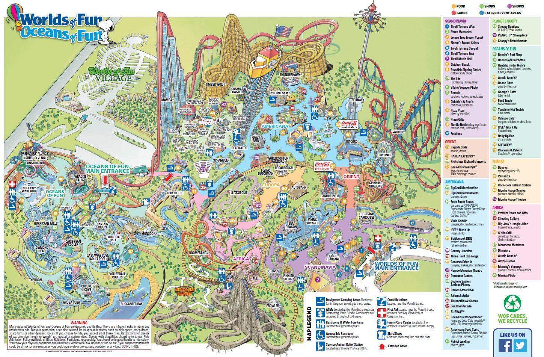 Worlds Of Fun Worlds Of Fun Kansas City Map Amusement Park Rides
