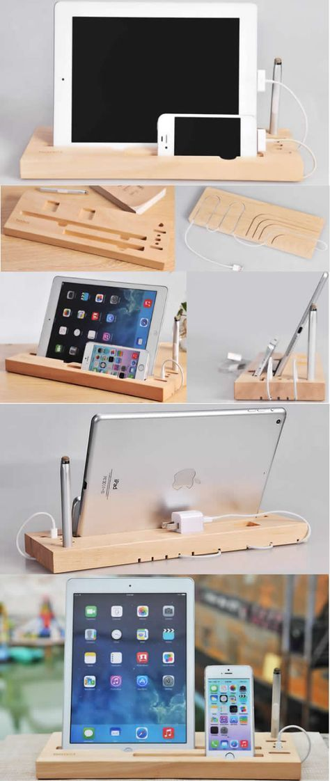 Bamboo Wooden iPad Smart Phone Cell Phone Charger Charging Station