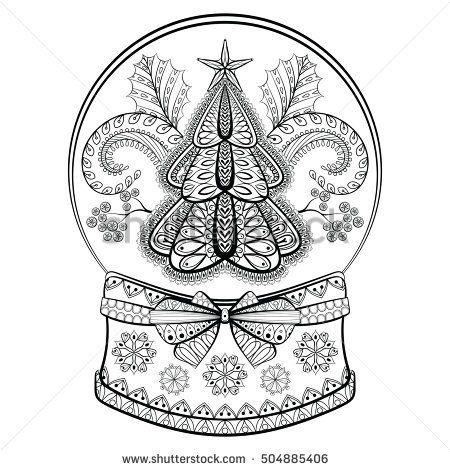 Decorative Snow Globe with Christmas tree and mistletoe ...