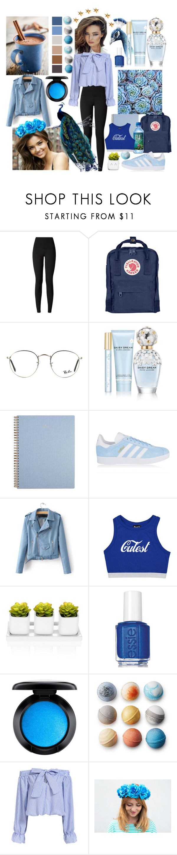 """blue like a peacock"" by anoo17k ❤ liked on Polyvore featuring Kerr®, lululemon, Fjällräven, Ray-Ban, Marc Jacobs, adidas Originals, Essie, MAC Cosmetics and Livingly"