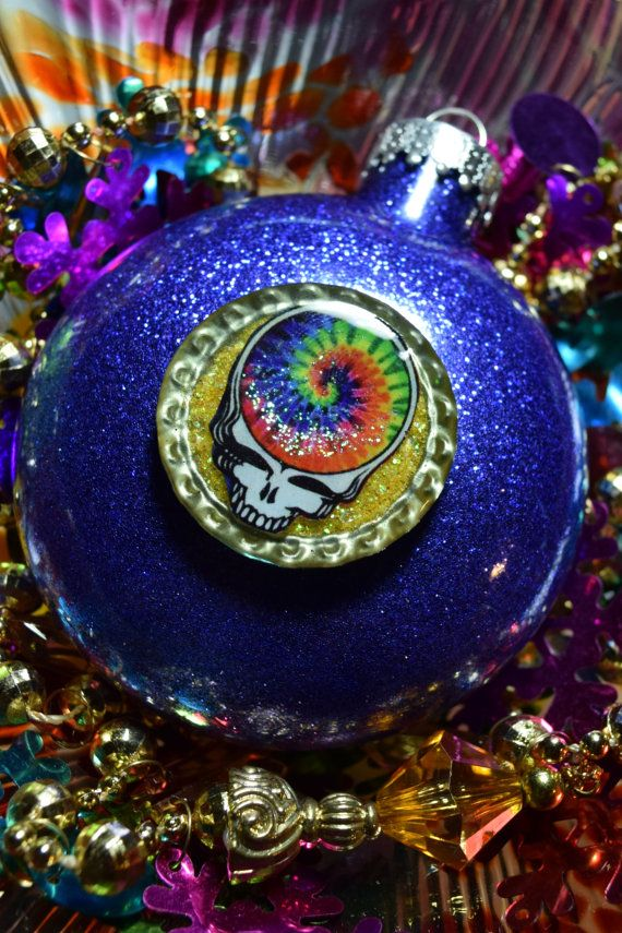 Grateful Dead Christmas Ornament.Grateful Dead Steal Your Face Glass Glitter Resin By