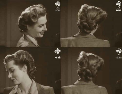 1940s Hairstyle American Wartime Hairdos 1944 1940s Hairstyles Vintage Hairstyles Retro Hairstyles
