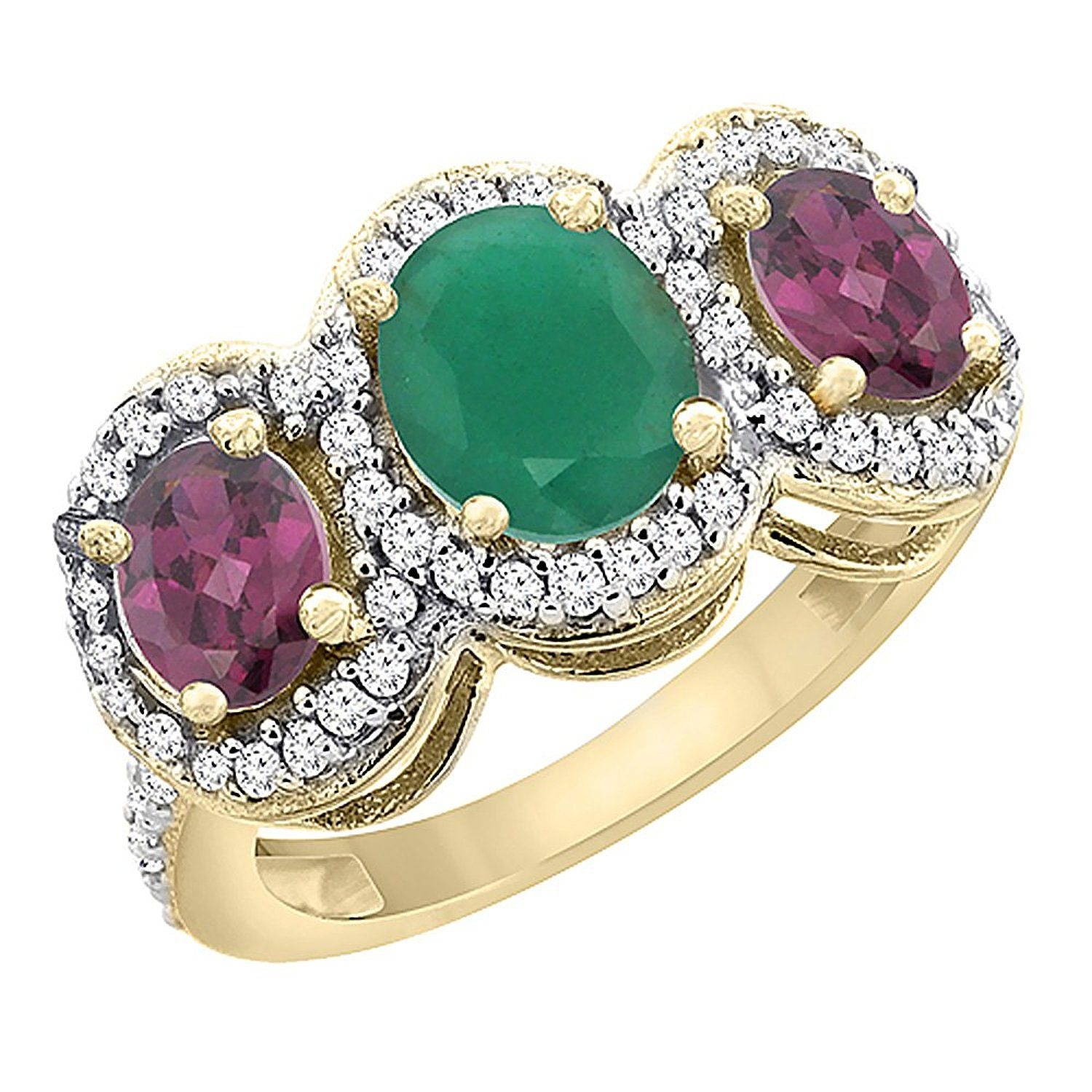 14K Yellow Gold Natural Cabochon Emerald and Rhodolite 3-Stone Ring Oval Diamond Accent, sizes 5 - 10 ** Insider's special review you can't miss. Read more  : Promise Rings Jewelry