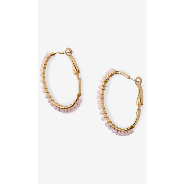Express Wrapped Bead Hoop Earrings (€17) ❤ liked on Polyvore featuring jewelry, earrings, gold, nickel free hoop earrings, beaded jewelry, beading jewelry, nickel free earrings and bead jewellery