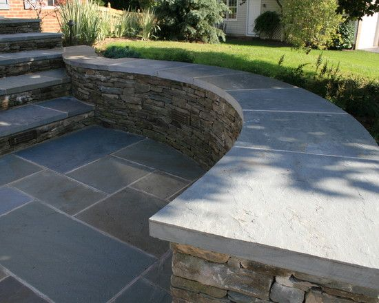 Our Backyard Sitting Wall Curved Patio Stone Landscaping Stacked Stone Walls
