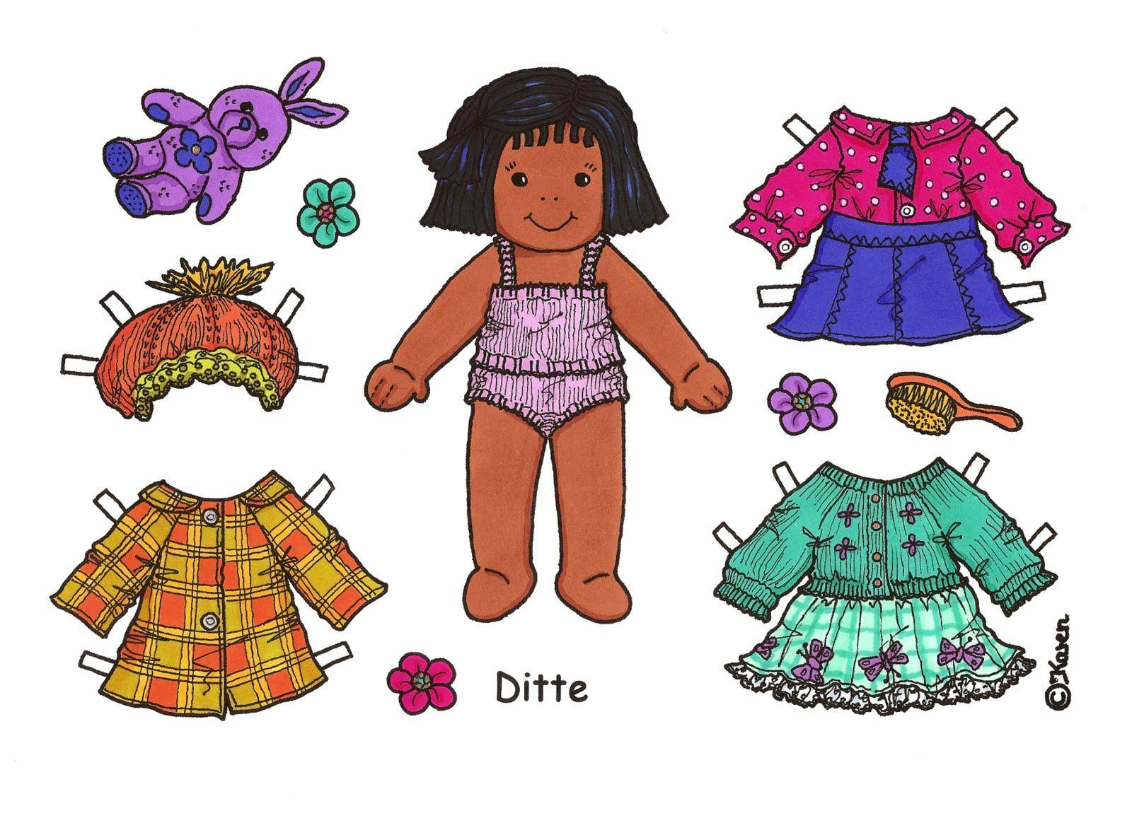 Karen`s Paper Dolls: Ditte Påklædningsdukke Enkeltark i farver. Ditte Paper Doll Onesheet in colours.