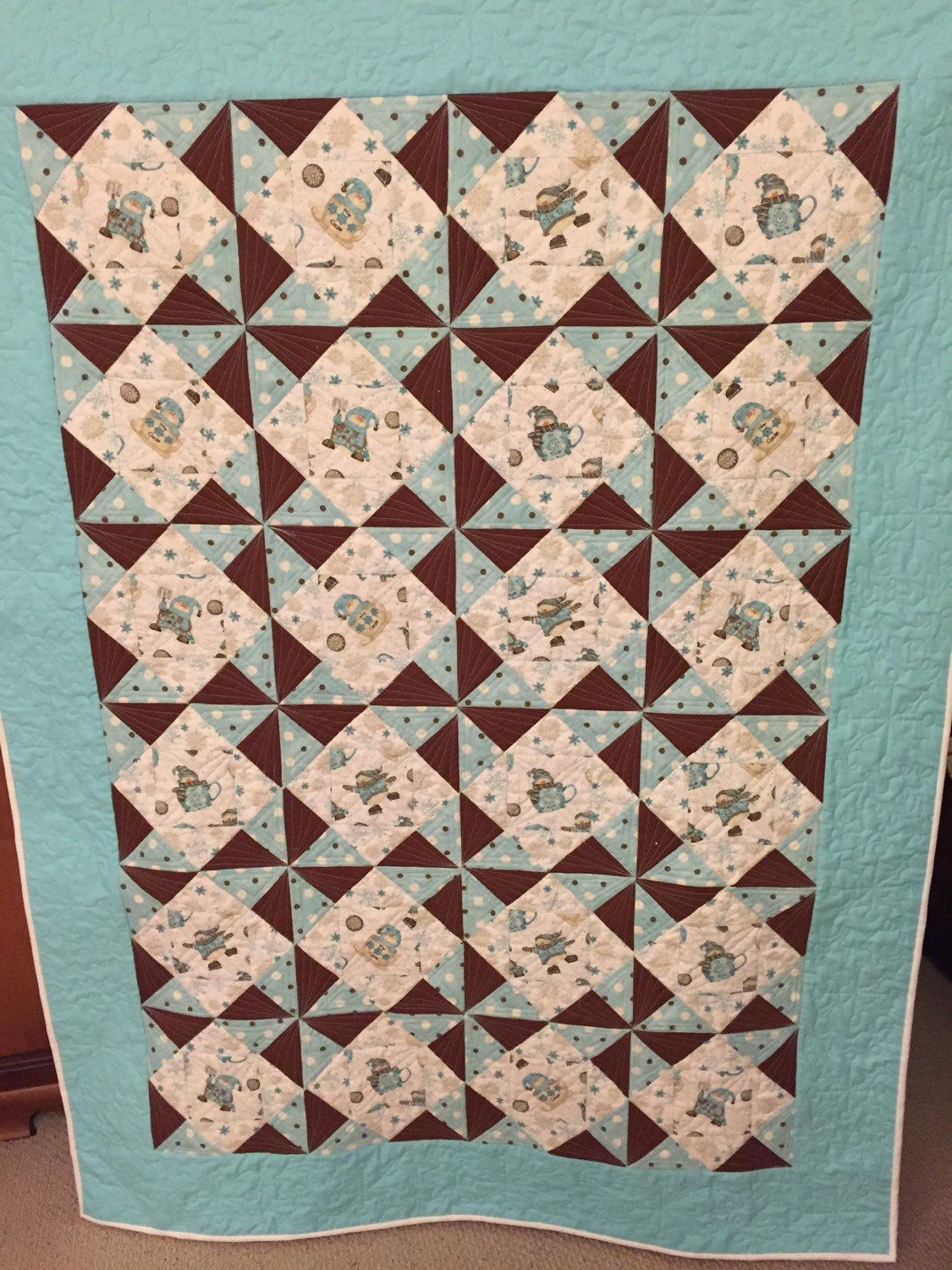 Price reduced! Snowman quilt/Turquoise and brown/pinwheel | Quilt ... : pinwheels quilt shop - Adamdwight.com