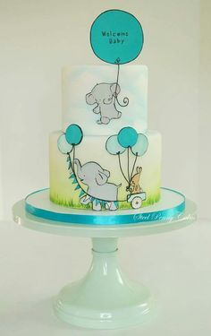Adorable! Baby Shower Cake with elephants and balloons