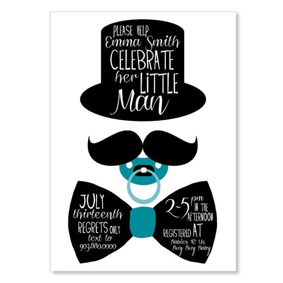 Gentleman Shower/Birthday Invitation, Boy Baby Shower, Fancy Baby Shower  Invitation, Mustache Invitation, Bow Tie Invitation