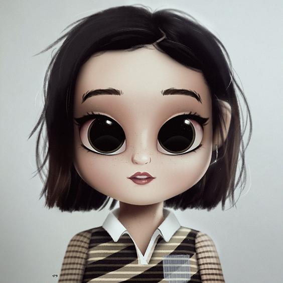 Cartoon Portrait Digital Art Digital Drawing Digital Painting Character Design Drawing Big Eyes Cute Illustrat Cute Art Digital Art Girl Cute Drawings