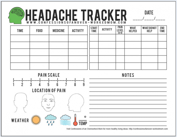 graphic about Printable Migraine Diary Worksheets identify Migraine Recommendations and a Absolutely free Printable Stress Tracker