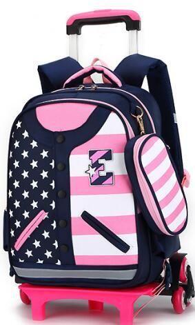 df26ec257ec8 Kids Trolley Schoolbags for Girls Removable Wheeled Backpack for School  Cartoon 3D Children Rolling Backpack Kids