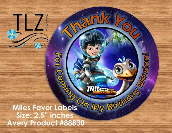 Miles From Tomorrowland Favor Labels Printable by TLZDesigns