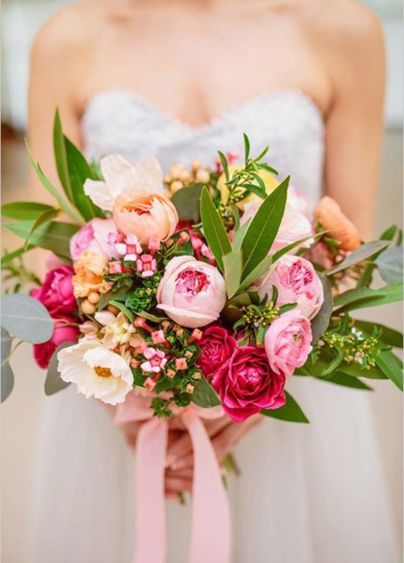 This gorgeous pink and peach bouquet is perfect for a wedding in the spring.